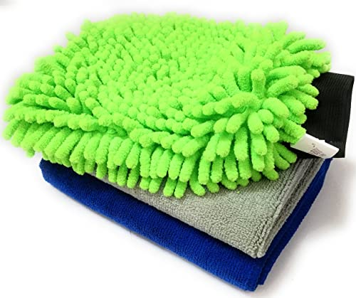 Sobby Microfiber Cleaning Cloths 3 In 1 Combo For Car Care ( 2 Large Microfibre Cloth & 1 Big Size Microfiber Mitt Gl...