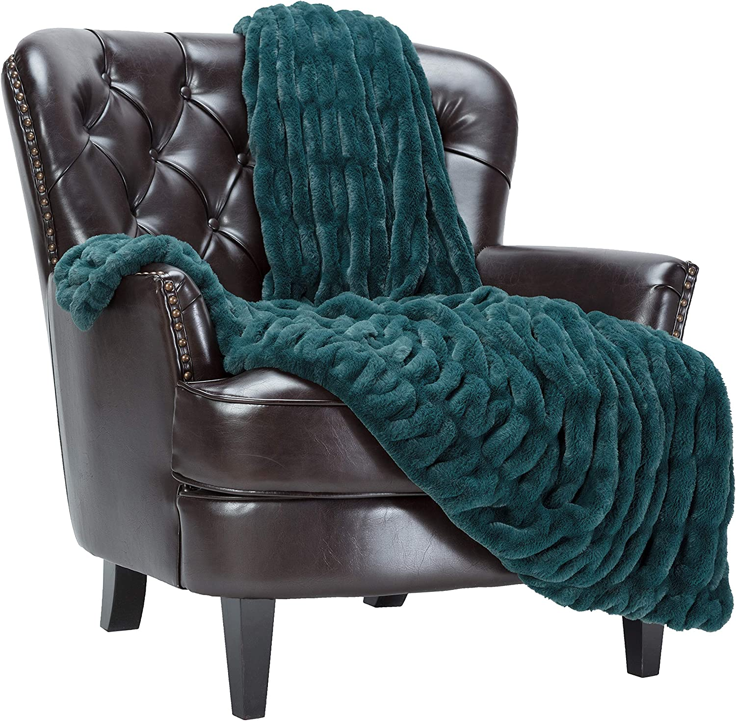 Chanasya Ruched Luxurious Online limited product Soft Faux Fur Pl Throw - Fuzzy Blanket Sale special price