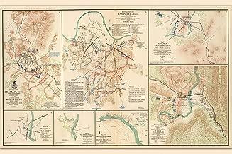 History Prints Nashville & Franklin TN Civil War Battlefields - Antique Map, 1865-16 x 24 inches