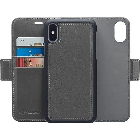 AmazonBasic iPhone X 保護殼 可拆卸自由的人造皮革錢包一體型保護殼 深灰色