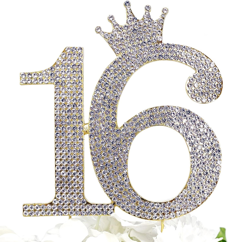 Number 16 New popularity Rhinestone Princess Crown Topper Sweet Cake Monogram Max 58% OFF -