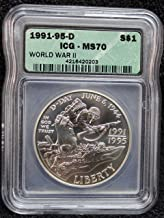 1991 D - 1995 World War II D-Day BU Commemorative Silver Dollar MS70 - The Perfect Coin - ICG