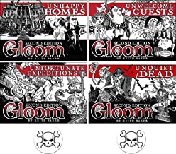 BUNDLE of 4 Expansions for the Gloom Card Game Unhappy Homes, Unwelcome Guests, Unfortunate Expeditions, and Unquiet Dead Second Edition Plus 2 Bonus Skull Buttons