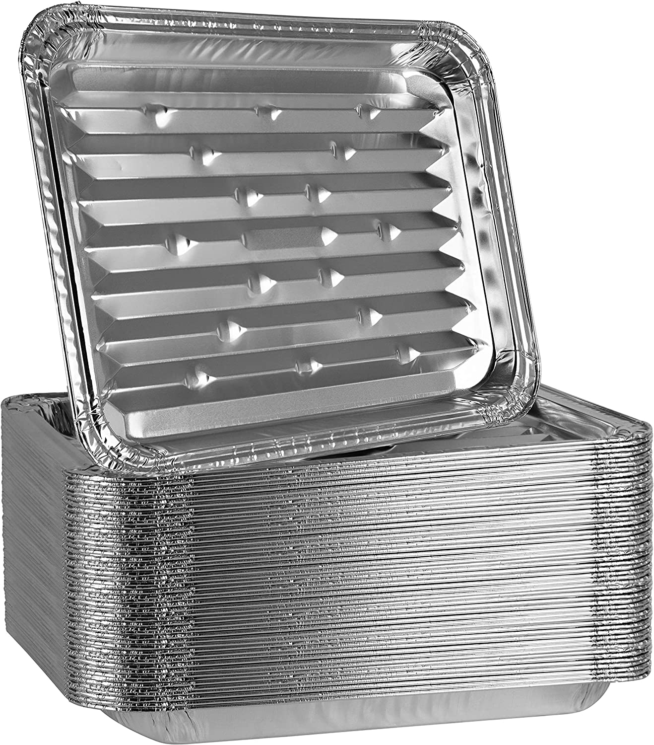 Plasticpro Aluminum Grill Pans, Broiler Pans, Grill Liners, Durable with Ribbed Bottom Surface for BBQ, Grill, Texture Disposable,Pack of 20: Kitchen & Dining