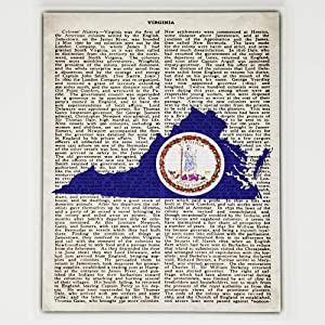 Virginia Flag Canvas Wall Decor - 8x10 Decorative Virginia State Map Silhouette Encyclopedia Art Print - Ready To Hang - Home State Love Handmade Gifts - VA Decorations