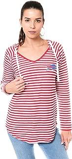 Ultra Game Women's V-Neck Hoodie Pulllover Sweatshirt Stripe