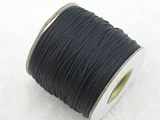 KONMAY 80 Yards 1.0MM Rattail/Bugtail Satin Silk Cord Shamballa Macrame Beading Nylon Kumihimo String (Black 900)