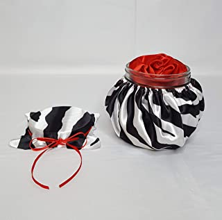 Handmade Scented Red Satin Ribbon Rose Head in a White and Black Zebra Animal Print Themed Design Silk Fabric Covered Decorative Glass Jar and Matching Lid