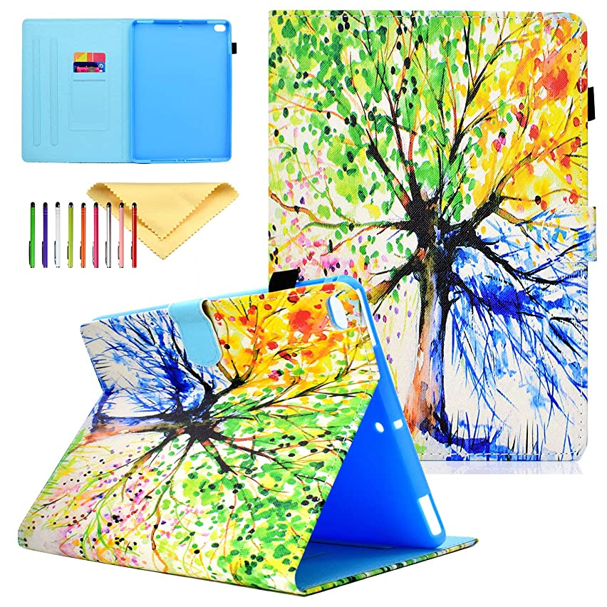 iPad 9.7 2018/2017 Cover, iPad Air 2 Case, iPad Air Case, Cookk [Corner Protection] [Auto Wake/Sleep] [Crad Slot] Premium PU Leather Stand Cover for Apple iPad 6th/5th Gen,iPad Air 1/2,Colorful Tree
