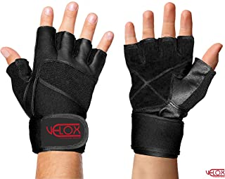 Leather Weight Lifting Gloves with 19