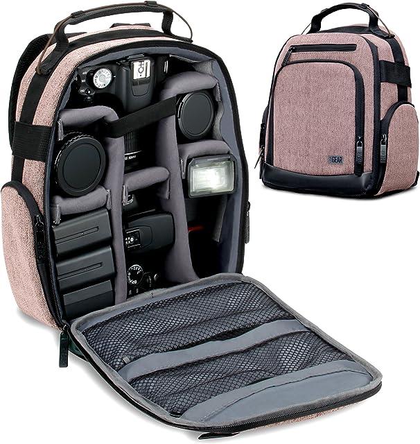 USA GEAR Mochila para Cámara Portátil para DSLR (Marrón) con Divisores de Accesorios Personalizables Fondo Resistente a la Intemperie y Respaldo Cómodo - Compatible con Canon Nikon Sony y más SLR