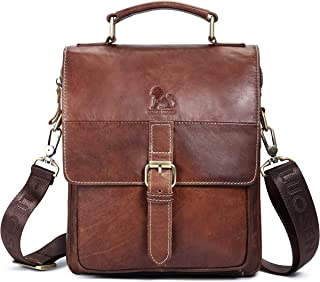 BAIGIO Men Genuine Leather Crossbody Shoulder Bag Messenger Bags Small Satchel Briefcase Handbag (Brown-1)