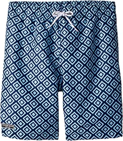 Toobydoo Multi Blue Patterned Swim Shorts (Infant/Toddler/Little Kids/Big Kids)
