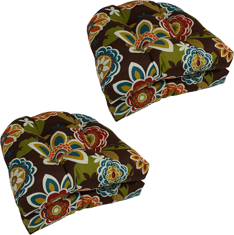 (Westport Teal) - Blazing Needles U-Shaped Patterned Spun Polyester Tufted Dining Chair Cushions Set, Set of 4, 48cm, Westport Teal