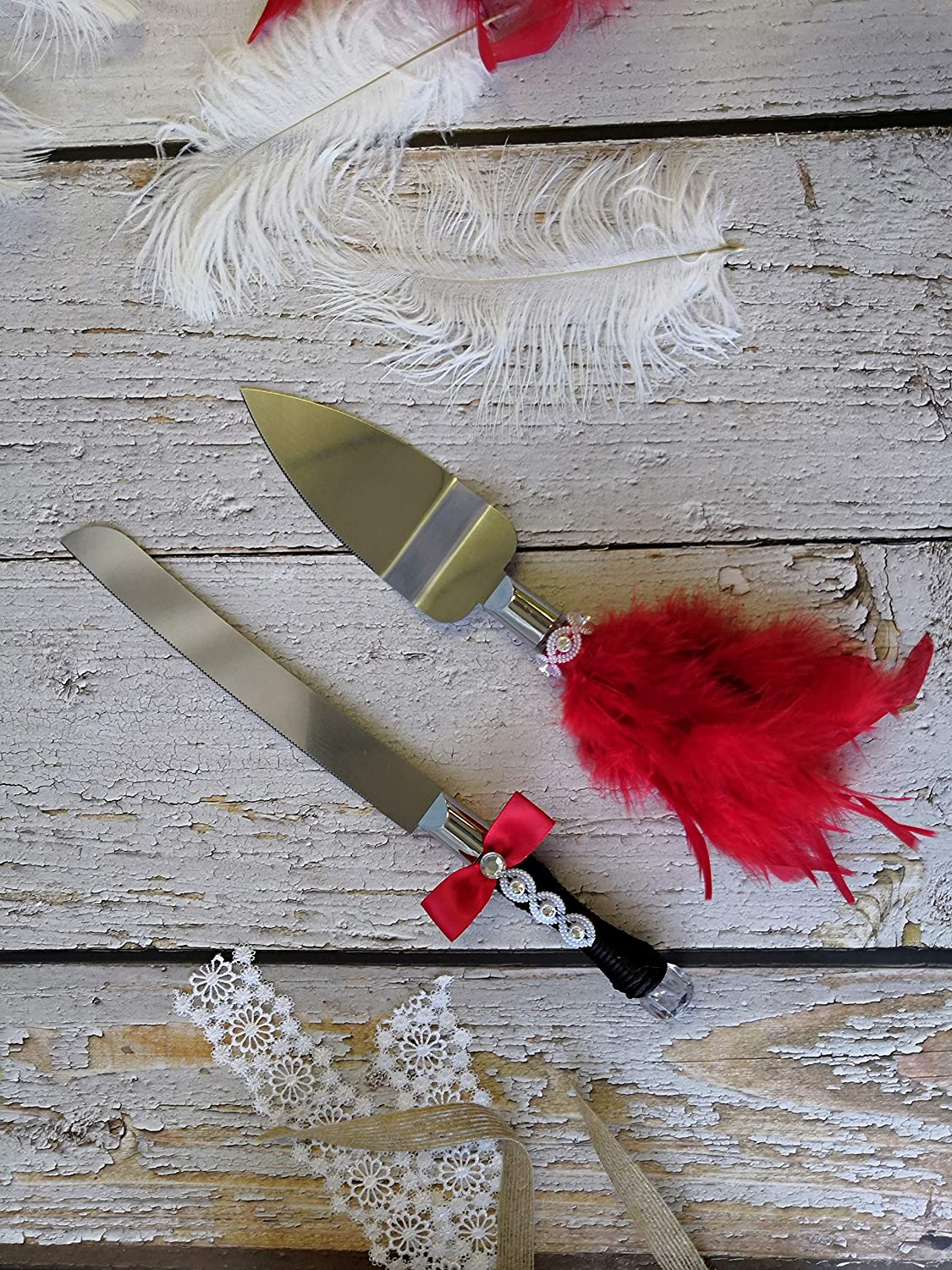 Max 47% OFF Abbie Home Wedding Limited time cheap sale Cake Knife and Server Red Dress - Feather Set