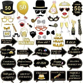 50 cumpleaños accesorios de la cabina de foto, Konsait 50 cumpleaños decoracion DIY Photo Booth props kits con palo para fiesta de cumpleaños a favor de suministros (53 cuentas)