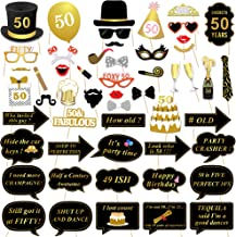 50th Birthday Photo Booth Props, Konsait 50 Black and Faux Gold Happy Birthday Decorations DIY Photo Booth Prop Kits with Stick for Birthday Party Favor Supplies (53 Counts)