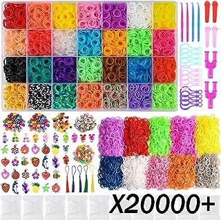 Demeu Pulseras Gomas Nina, 20000pcs Rainbow Elasticas Loom Bandz DIY Kit, 19000 Bandas / 500 Clips / 150 Cuentas / 100 Accesorios / 40 dijes / 12 Ganchos para Mochila(38 Colores)
