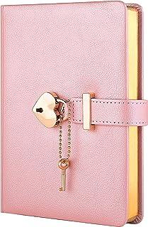 دفتر خاطرات قفل قلبی CAGIE با کلید ، دفترچه یادداشت چرمی با قفل برای دختران ، روزنامه های قفل زیبا برای کودکان ، B6 ، 5.3x7 اینچ ، مروارید صورتی