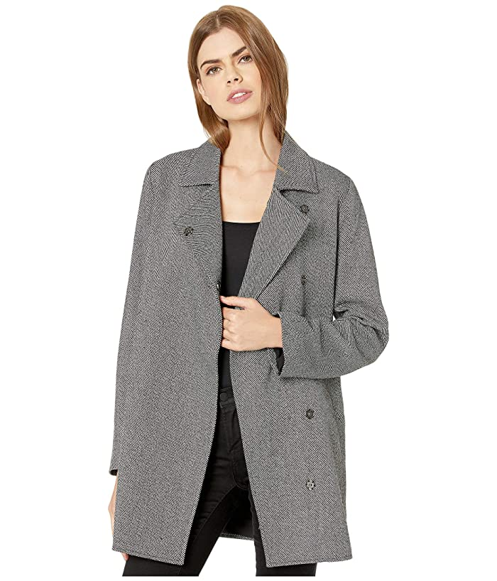 Jack by BB Dakota  In The Tweeds Two-Tone Twill Coat with Snap Closure (Black) Womens Coat