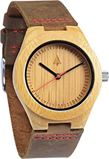 Treehut Wooden Bamboo Watch with Genuine Brown Leather Strap Quartz Analog wi.