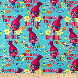 Springs Creative Products Dreamworks Trolls Cotton Poppy True Colors Are Beautiful Teal Fabric by the Yard