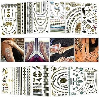 HALLO Small Tattoo Stickers Body Art Waterproof Temporary Tattoo Stickers 200 Shimmer Chain Designs Metallic