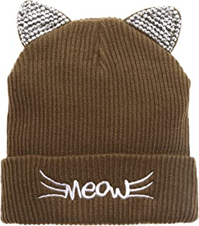 MIRMARU Women's Soft Warm Embroidered Meow Cat Ears Knit Beanie Hat with Stone Embellished