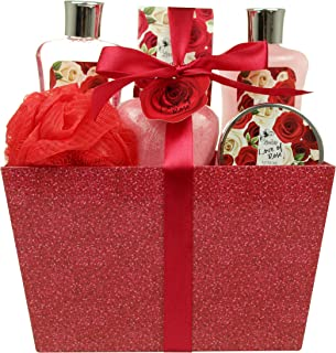 Bath and Body - Spa Gift Baskets for Women & Girls, Spa Kit Birthday Gift Includes Love of Rose Scent Shower Gel, Bubble Bath, Body Lotion, Bath Salt, Red Bath Puff and Heart Bath Bomb