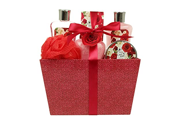 Valentines Bath And Body Gift Baskets For Women Spa Basket Includes Love Of Rose Scent Shower Gel Bubble Lotion