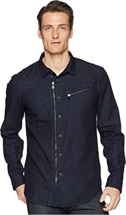 Washed Slim Fit Zip-Up Shirt W532U1