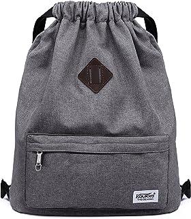 Drawstring Sports Backpack Lightweight Gym Yoga Sackpack Shoulder Rucksack  for Men and Women-Dark Grey 742a009c44778
