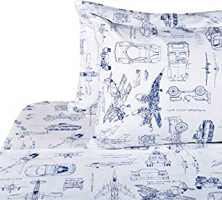 J-pinno Cars Tank Helicopter Aircraft Military Transport Vehicles Sheet Set Full for Kids Boy Children,100% Cotton, Flat Sheet + Fitted Sheet + Two Pillowcase Bedding Set (1)