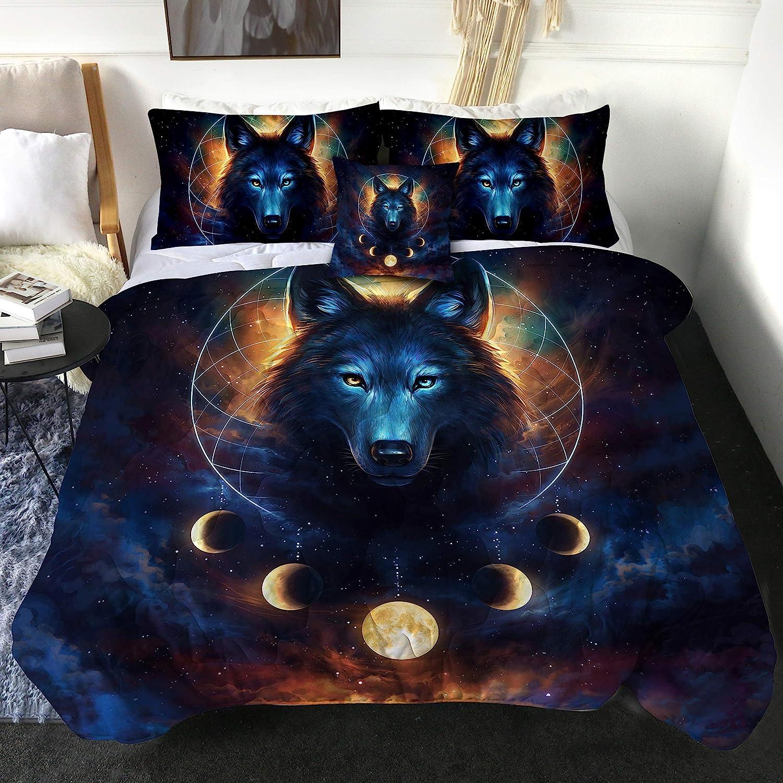 Amazon Com Dream Catcher By Jojoesart Wolf Queen Comforter Set 4 Pieces Galaxy Wolf Bedding Set Mens Lunar Eclipse Bed Set Soft And Comfortable Machine Washable 1 Comforter 2 Pillow Shams 1 Cushion