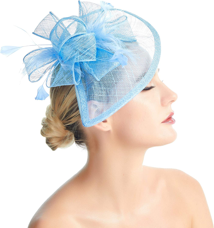 SACASUSA Lady Feather Flower Fascinator Mesh Formal Cocktail Hat Headband