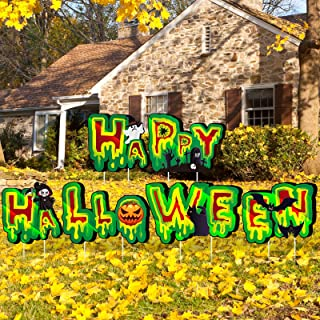 Blulu 6 Pieces Happy Halloween Yard Sign Pumpkin Ghost Spider Yard Lawn Sign Halloween Corrugated Plastic Yard Sign with 1...