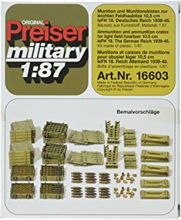 Preiser 16603 Former German Army WWII Artillery 10.5cm Light Field Howitzer (Plastic Kit) HO Scale Military Model Figure