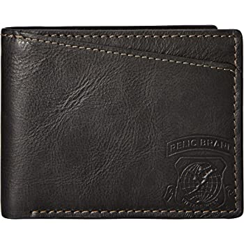Black Relic by Fossil Mens Mark Leather Traveler Bifold Wallet