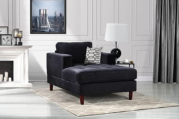 DIVANO ROMA FURNITURE Mid Century Modern Velvet Fabric Living Room Chaise Lounge Black