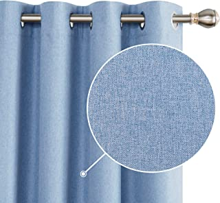 Deconoov Total Blackout Curtains Faux Linen Sun Blocking Thermal Insulated Room Darkening Energy Efficient Noise Reducing Window Draperies for Nursery Room Light Blue 52W x 96L Inch Set of 2 Panels