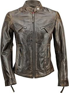 Xposed New Ladies Women's Soft Real Leather Vintage Fitted Tan Brown Biker Style Jacket Size S – 5XL
