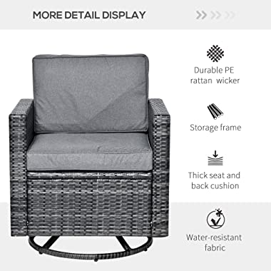 Outsunny Rattan Wicker Swivel Rocking Chair with Armchair, Soft Thick Cushions, Outdoor Swivel Club Chair with Strong Steel F