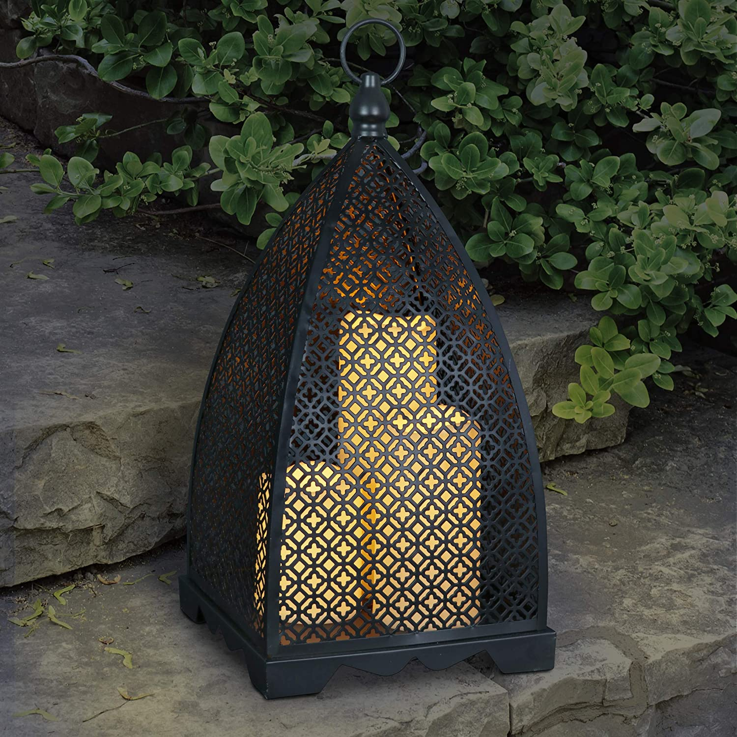 Exhart Metal Filigree Lantern with Operated Industry No. 1 Battery 3 In a popularity wi Candles