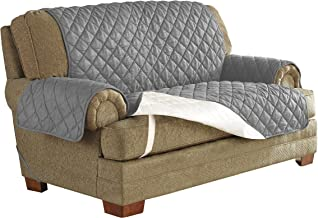 """Serta   Microsuede Waterproof Furniture Protector Machine Washable, Fits Loveseats Widths up to, 48"""", Alloy Gray"""