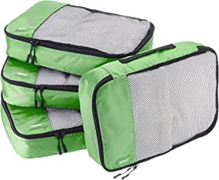 AmazonBasics 4 Piece Packing Travel Organizer Cubes Set - Medium, Green