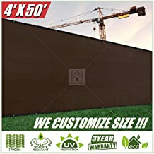 ColourTree 4' x 50' Brown Fence Privacy Screen Windscreen, Commercial Grade 170 GSM Heavy Duty, We Make Custom Size