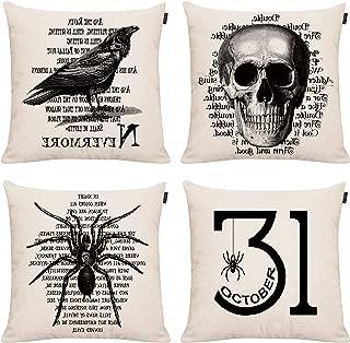 4 Pack Halloween Trick or Treat Pillowcase Throw Pillow Case Cushion Cover October 31 Boo Cotton Linen Pillowcase Home Decorative for Sofa 18