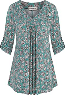 Ouncuty Womens 3/4 Sleeve Shirt Roll Up Casual V Neck Floral Dressy Tunic Blouse