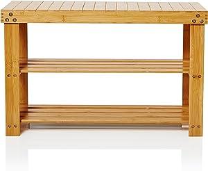 Lumaland étagère en Bois pour Rangement Chaussures 2 Niveaux | Banc Salle de Bain Bambou | 70x28x45 cm