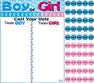 Qyler Baby Shower Gender Reveal Team Voting Board with Stickers